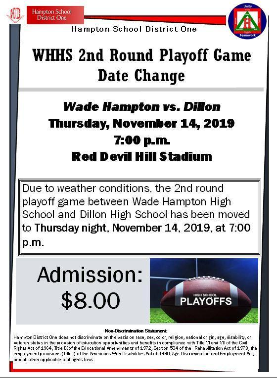 WHHS 2nd Round Playoff Date Change