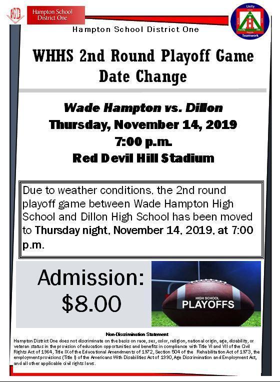 WHHS 2nd Round Playoff Date Change