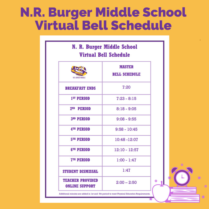 N.R. Burger Middle School 2020-2021 Virtual Bell Schedule Featured Photo