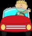 boy driving a car