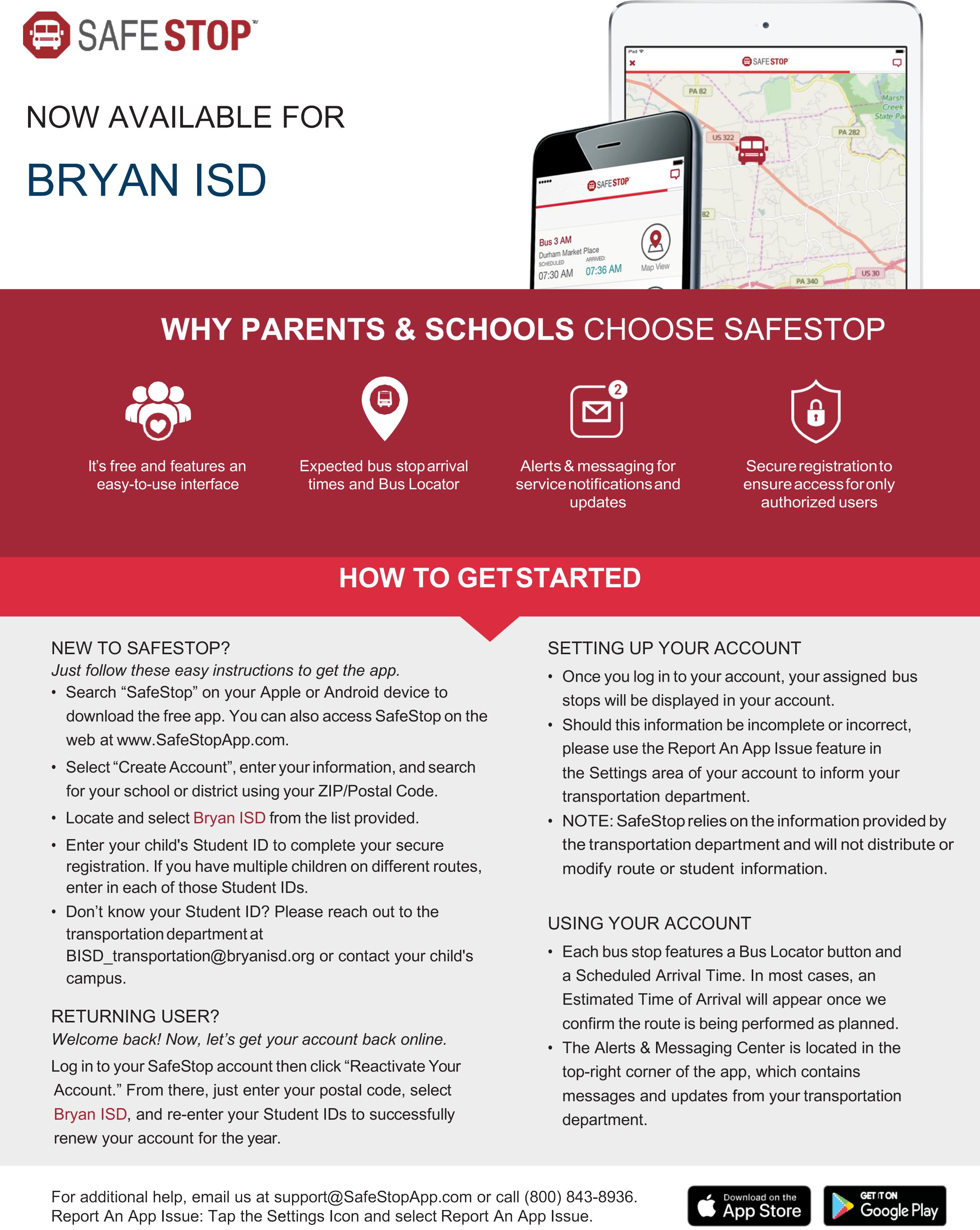 The SafeStop App – Transportation – Bryan Independent School
