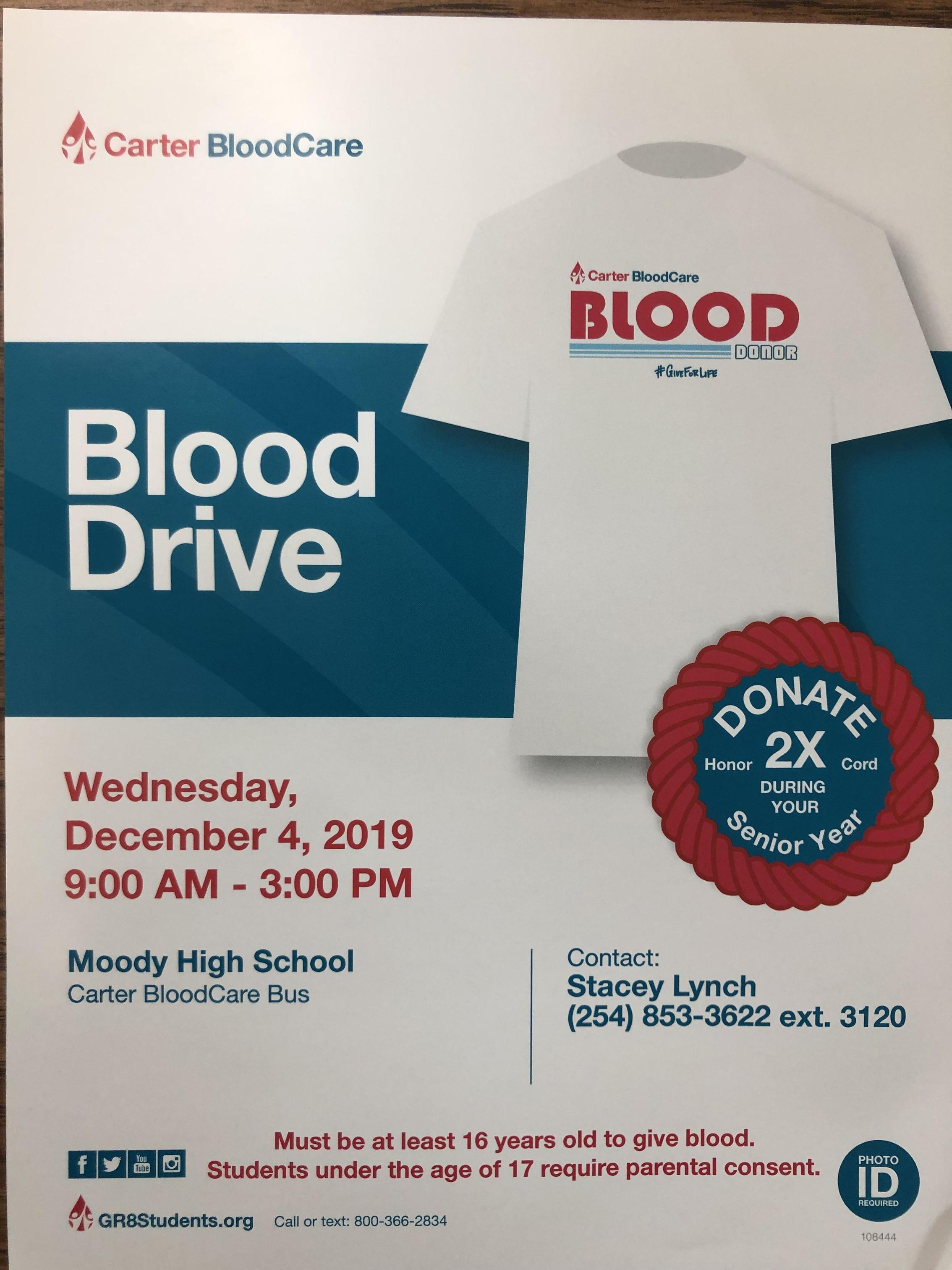 Blood Drive December 4th at Moody High School from 9 am-3 pm