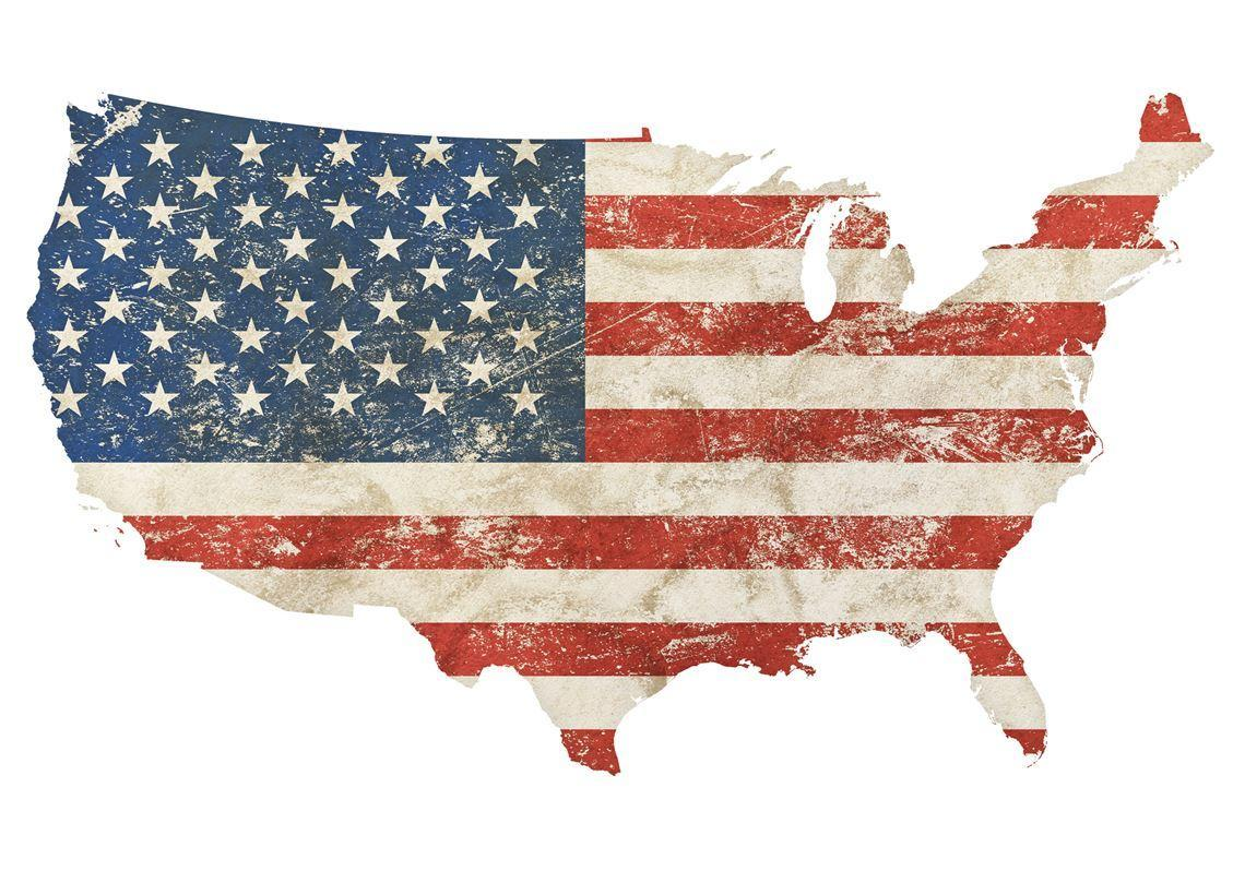 Map of America with American flag