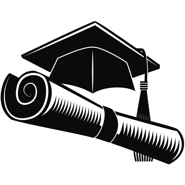 Graduation mortar and scroll