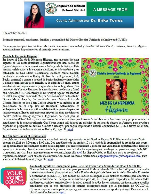 Comunicación a Padres, Familias, y Comunidad de IUSD - 10-08-2021 Featured Photo