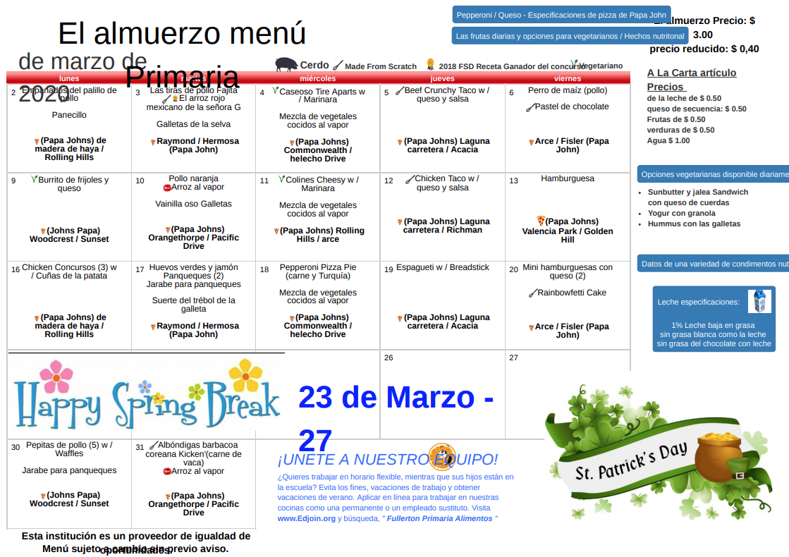 March 2020 Lunch Menu in Spanish