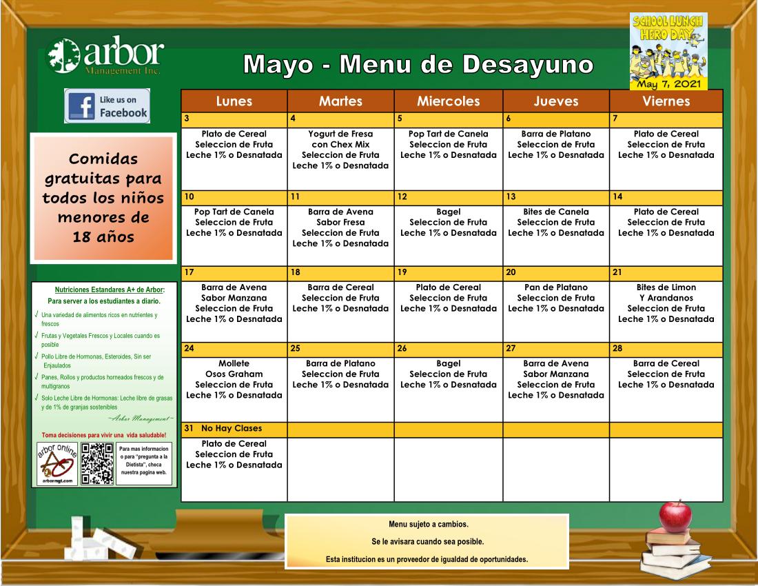May breakfast menu Spanish