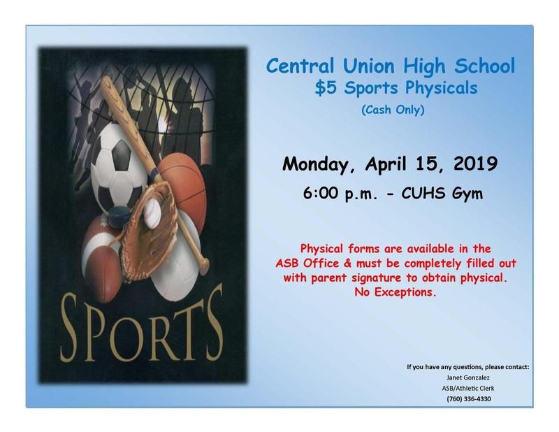 Central Union High School Sports Physicals $5 Thumbnail Image