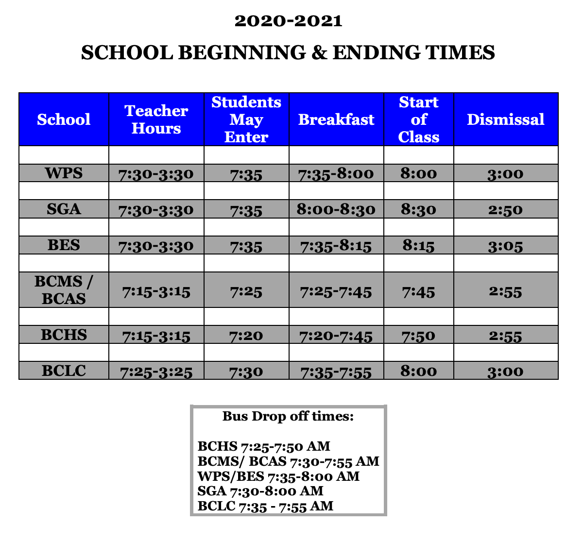 school beginning and ending times