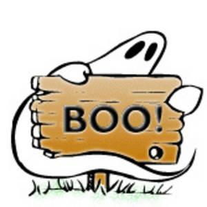 Ghost holding the word BOO
