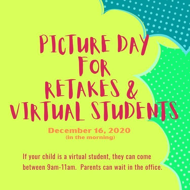 Picture Retakes and Picture Day for Virtual Students!! 12/16!! Featured Photo