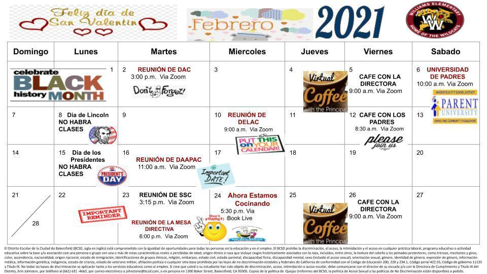 Feb. Calendar Spanish