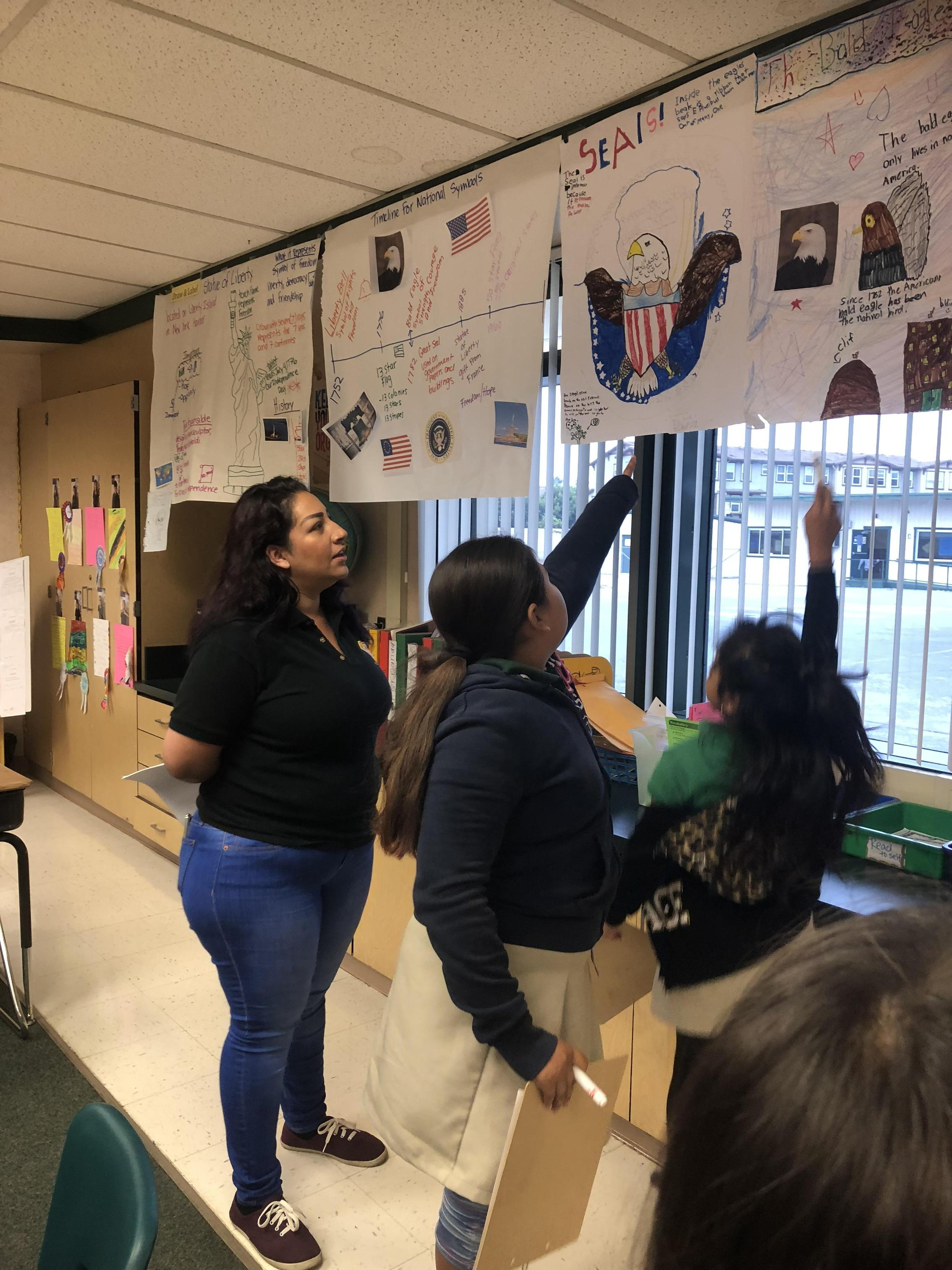 Students teach their parents during Gallery Walks