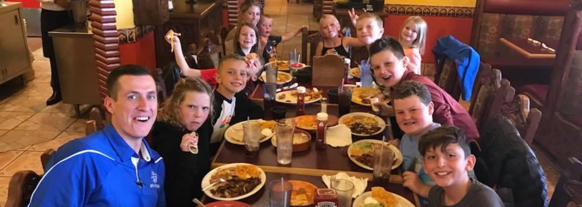 Walkathon Winners out having lunch with Mr. Dastrup at Don Pedro's