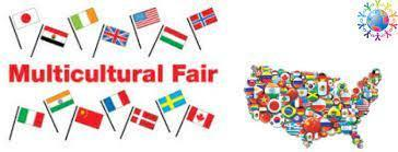 Multicultural Fair (word in red color) picture of all flags from different countries