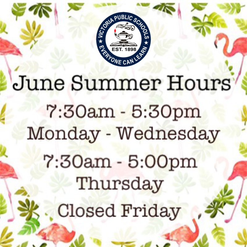 VISD Summer Hours for June Thumbnail Image