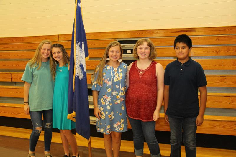 Pictured from left to right are Ella Sawyer, Merideth Soper, Isabella Gunter, Isabella Parkman, and Felipe Diaz.  These students are attending the National Jr. Beta Club Convention in Oklahoma City June 14th-18th.