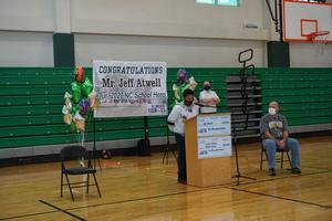 Student speaks at Mr. Atwell's celebration ceremony