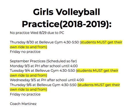 Girls Volleyball Schedule