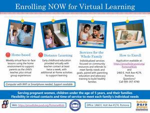 Programa de Desarrollo Infantil está inscribiendo ahora para Aprendizaje Virtual.