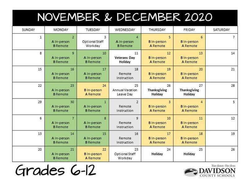 November & December 2020 Grades 6-12