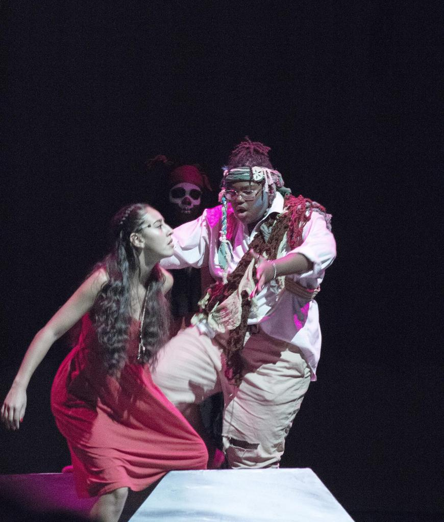 Two actors dance at center stage