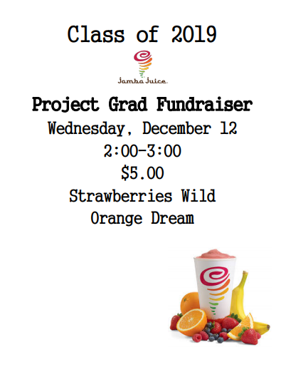 Class of 2019 Project GRAD Fundraiser:  Wed. Dec. 12,  2:00-3:00 pm Thumbnail Image