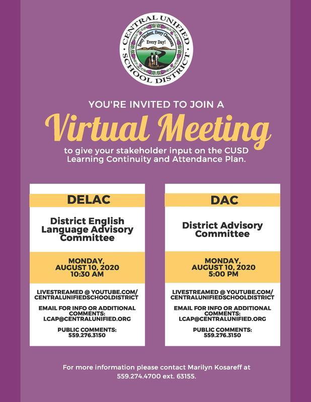 Virtual DELAC/DAC Meeting Flyer