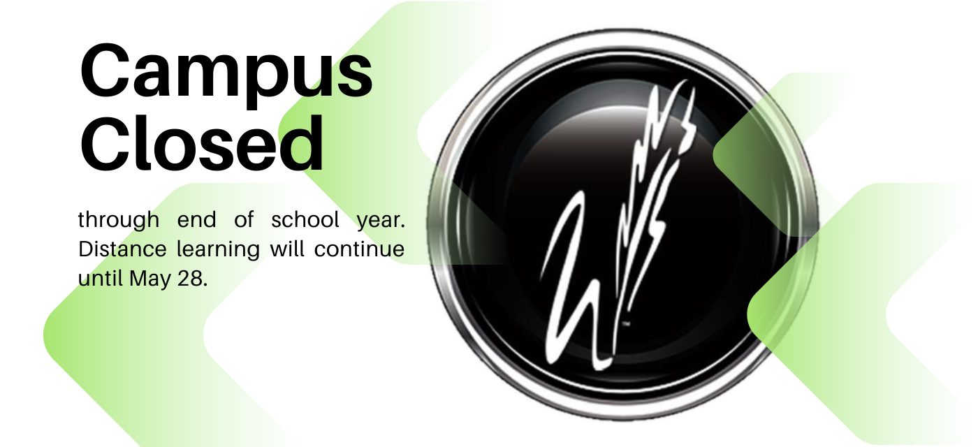 black feather w button with campus closed message
