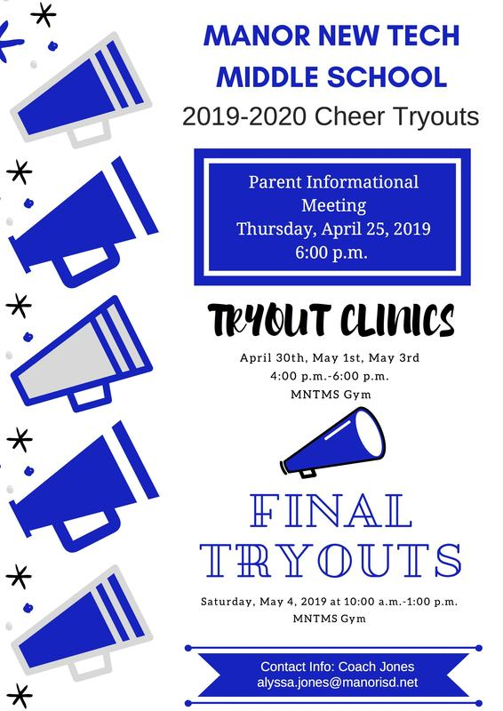 Cheer Tryouts for 2019-2020 cheerleading with blue and grey writing