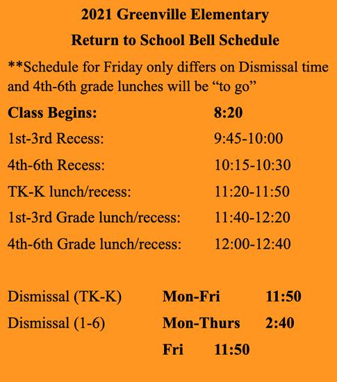 GES bell schedule