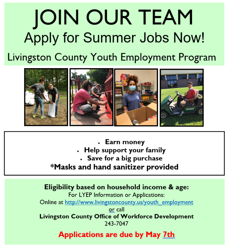 LIVINGSTON COUNTY SUMMER YOUTH EMPLOYMENT PROGRAM Featured Photo