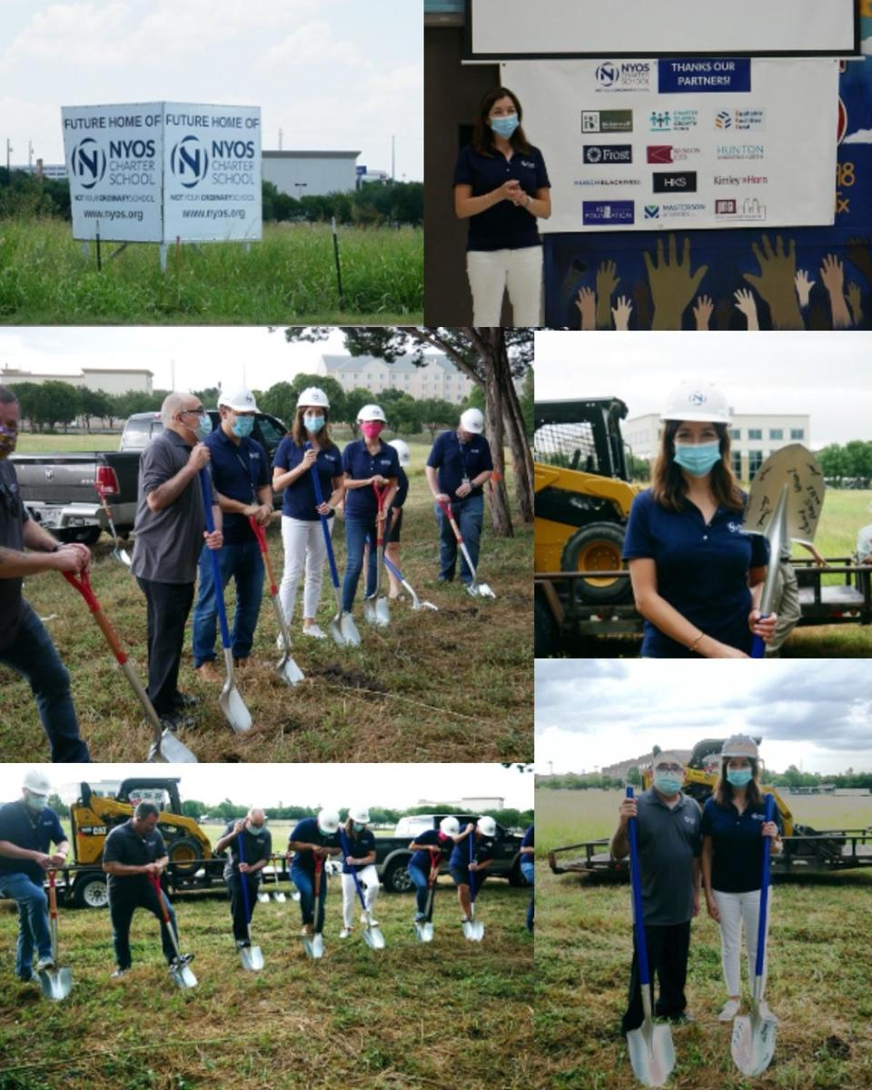 Photos of ground breaking ceremony: Senior staff and board members digging into the ground with shovels, Executive Directors speaking to group. All individuals are wearing NYOS polo shirts, hard hats, and face masks.