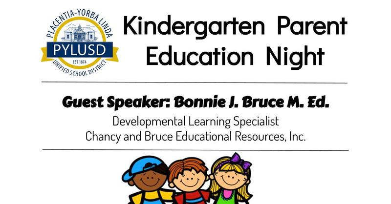 Kinder parent night graphic.