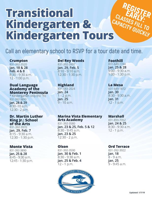 Transitional and Kindergarten Tours Flyer