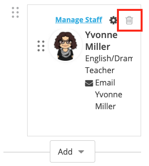 Screenshot of a staff member with the trashcan icon selected