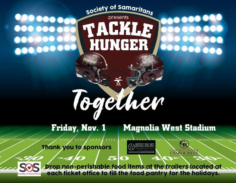 Bring your non-perishable food items to Magnolia Bowl for Society of Samaritans' Tackle Hunger