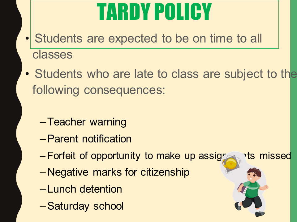 tardy policy power point slide