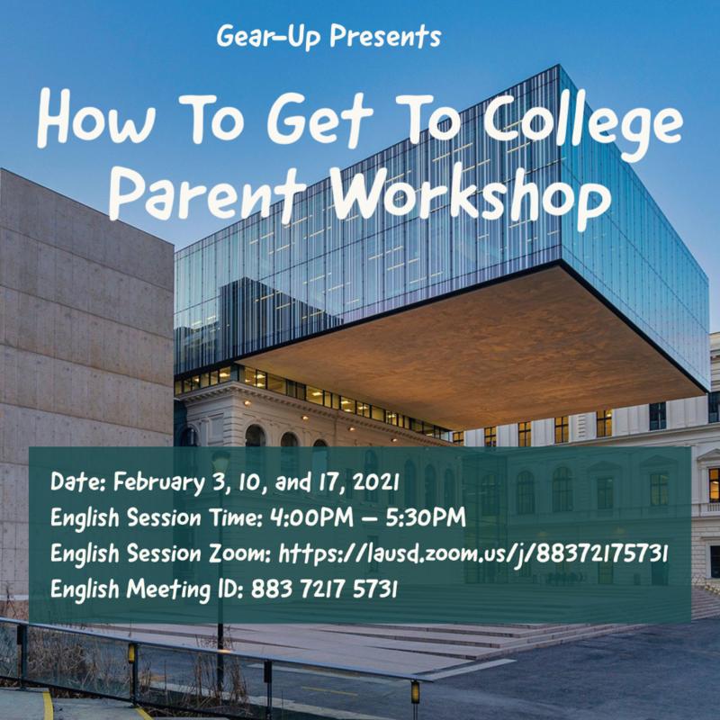 Gear-Up College Workshop for Parents /  Taller universitario para padres Thumbnail Image