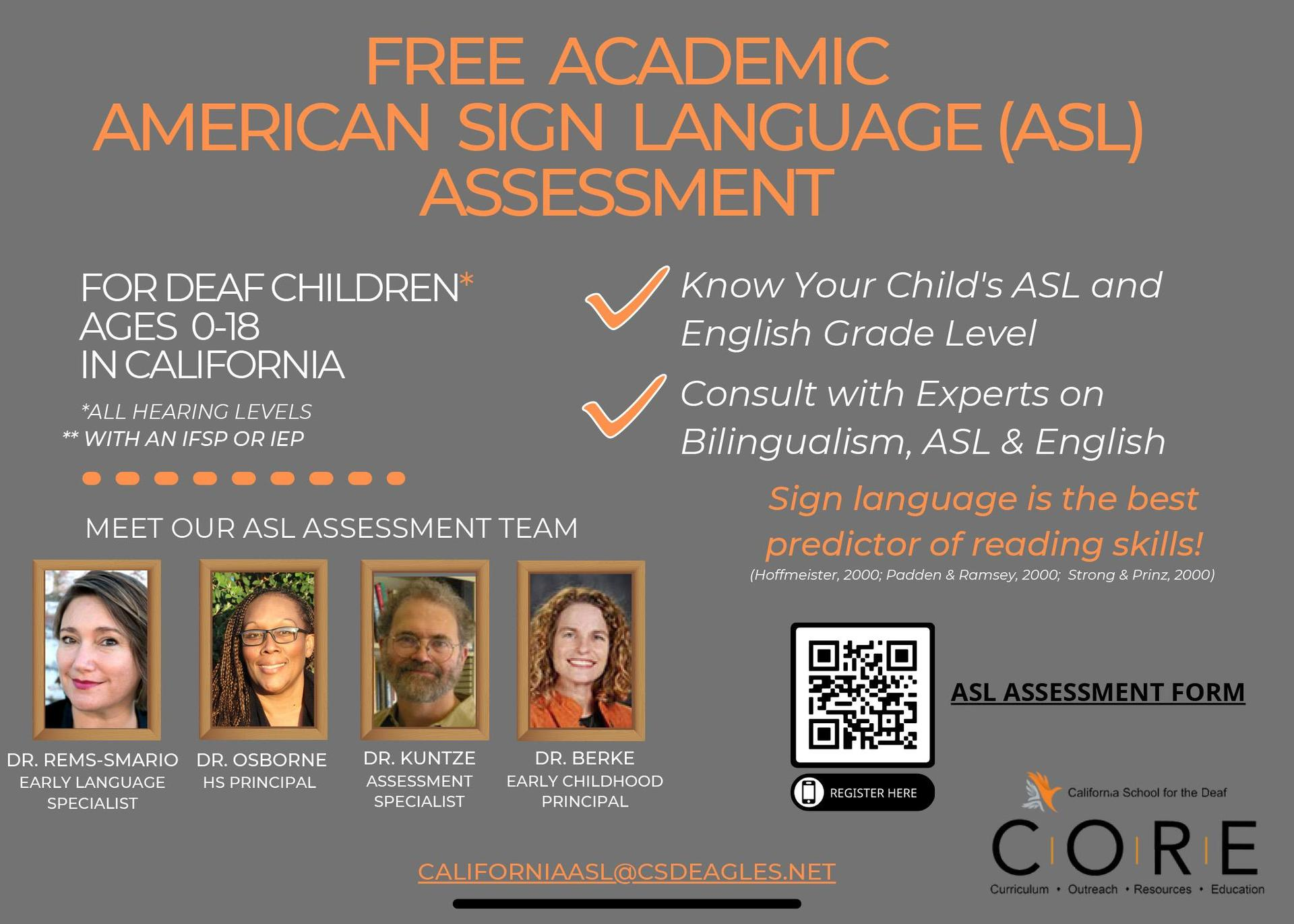 Free ASL Assessment with links to register