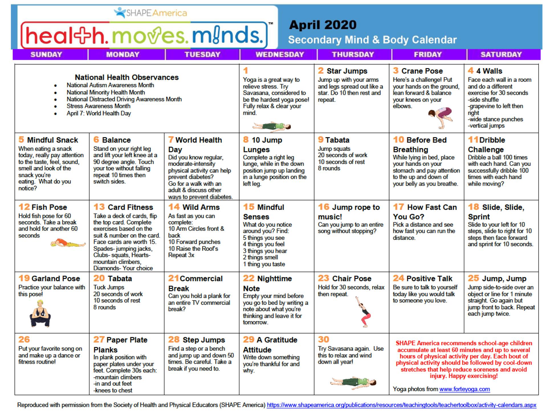 Mind and Body Calendar