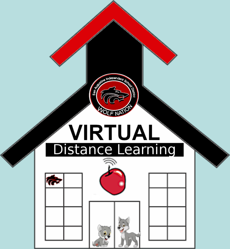 Virtual School house with wolves and wolf logo