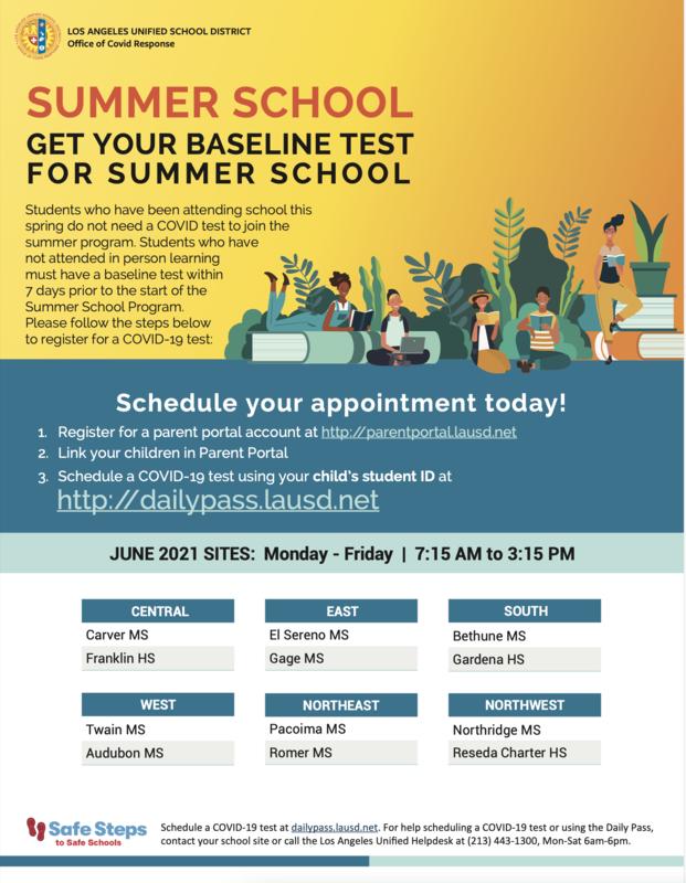 SUMMER SCHOOL GET YOUR BASELINE TEST FOR SUMMER SCHOOL