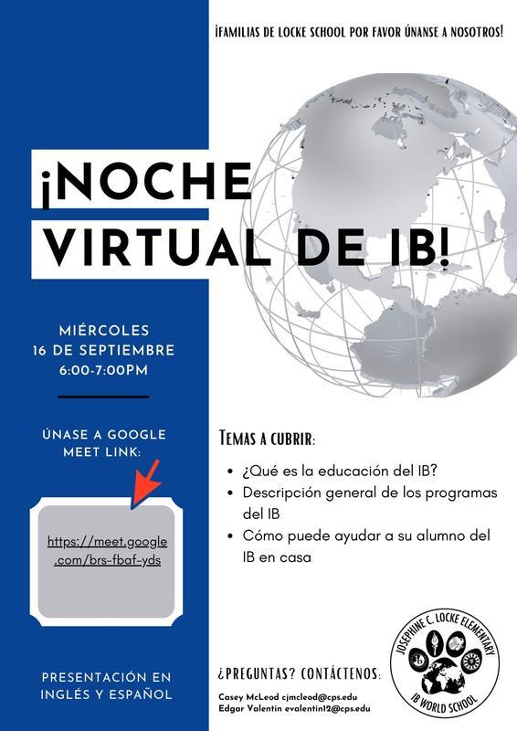 Noche Virtual de IB el 16 de septiembre a las 6:00 p.m.