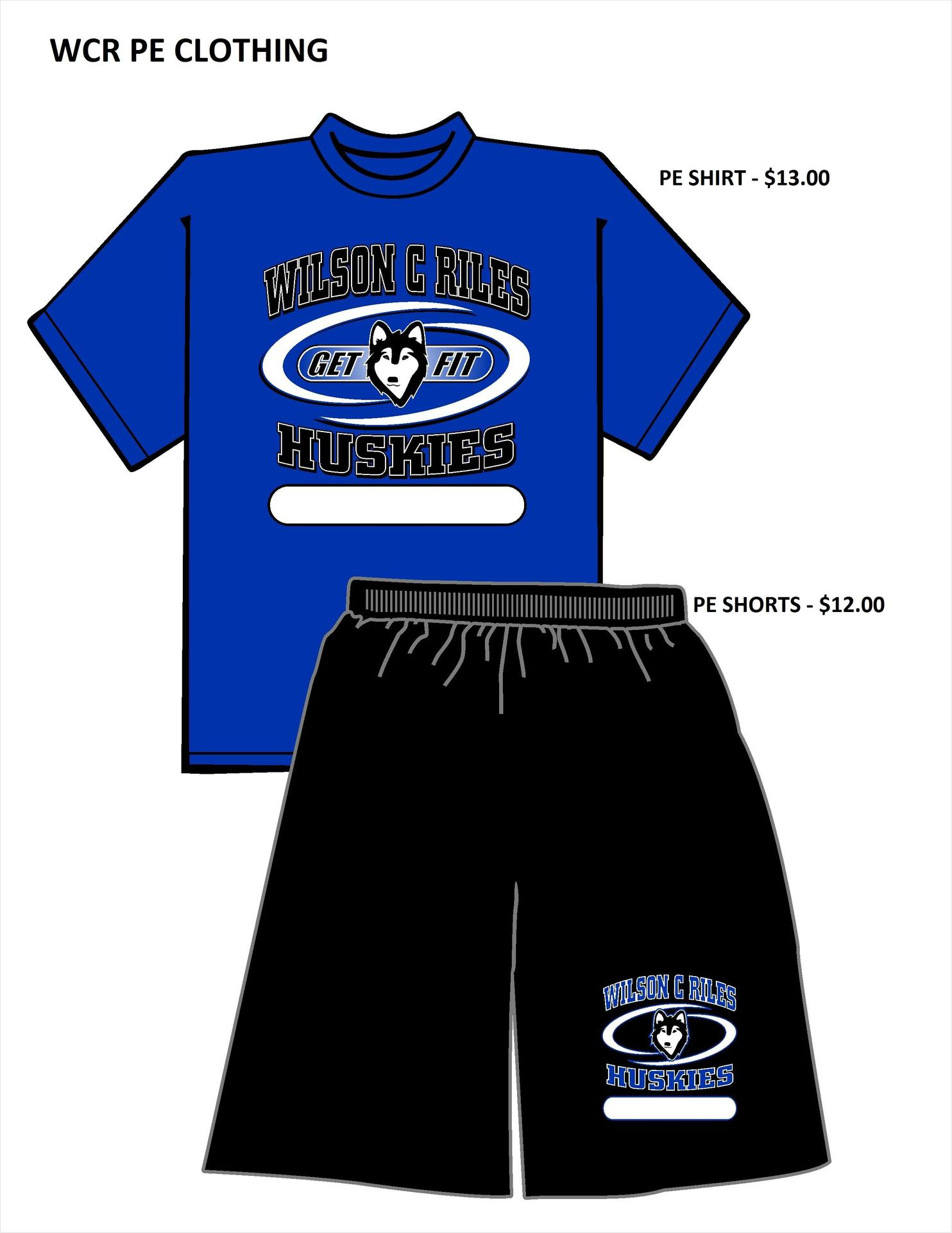 WCR PE Clothes Prices 2018-2019  Shirt is $13, shorts $12