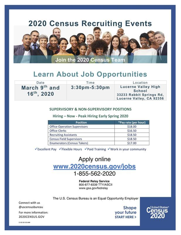 2020 Census Recruiting Event at LV High School March 9, 16 Featured Photo