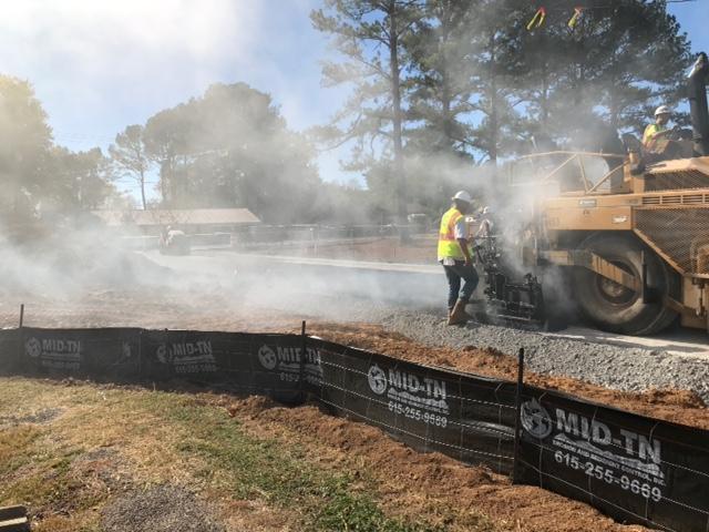 Road behind school construction