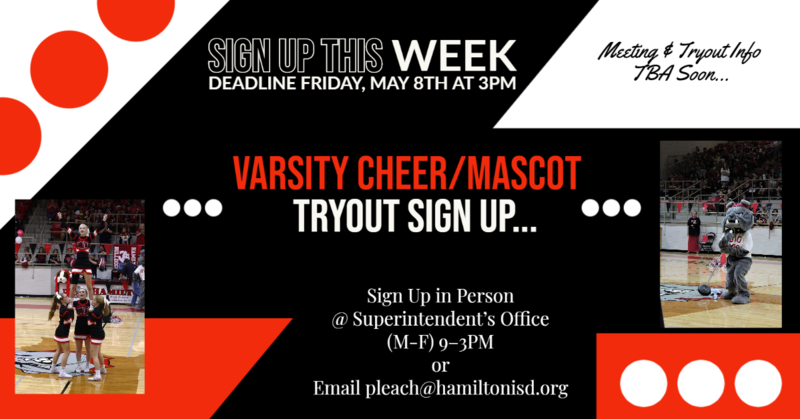Varsity Cheer/Mascot Try Out Sign up Deadline Thumbnail Image