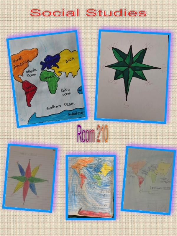 Map and compass drawings collage