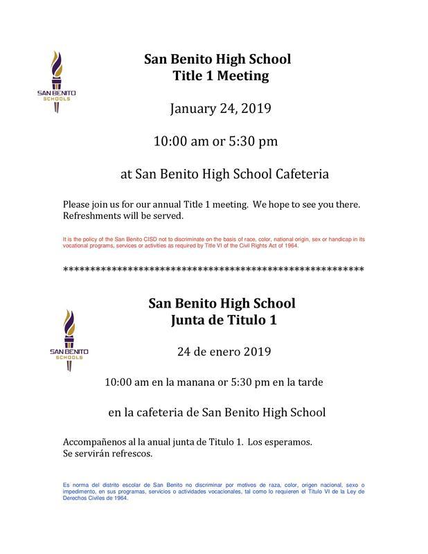 San Benito High School Title 1 Meeting